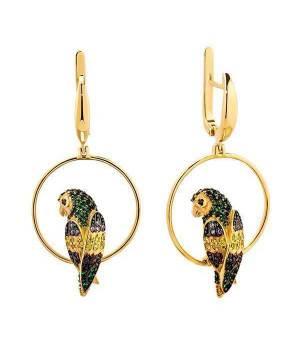 Золотые серьги-подвески эксклюзивные Попугаи