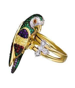 Кольцо золотое с камнями Попугай