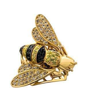 Кольцо золотое эксклюзивное Золотая пчела