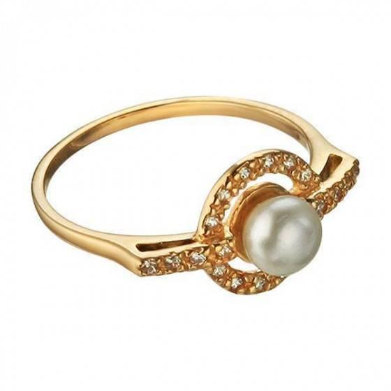 Кольцо золотое с жемчугом Жюли