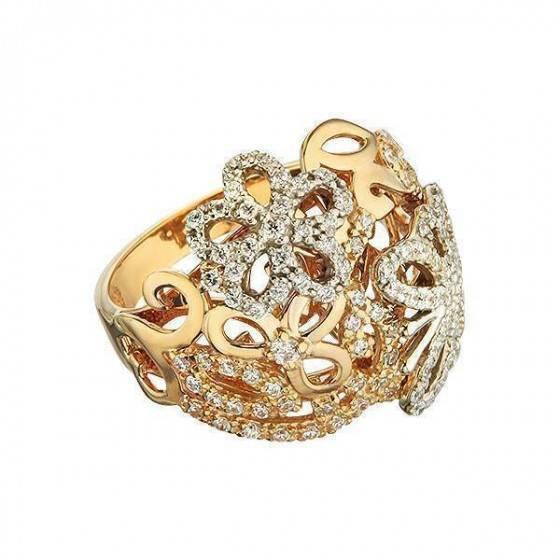 Кольцо золотое широкое Lady Butterfly