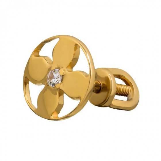 Серьги гвоздики золотые цветочек Louis Vuitton